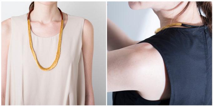 束ねて作られるアクセサリー「絲 tabane」のネックレスとチョーカー