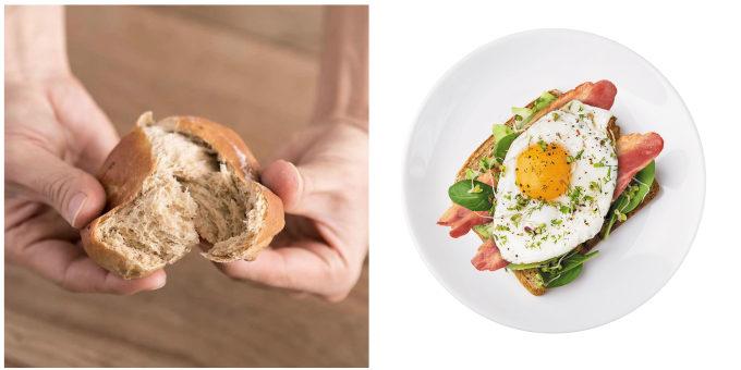 完全栄養食「BASE FOOD(R)」のパンと、一般的なパンの朝食メニュー