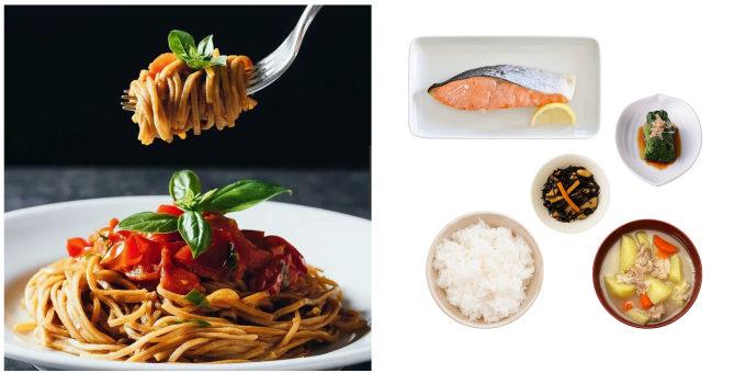完全栄養食「BASE FOOD(R)」のヌードルを使ったパスタと、一汁三菜そろった和定食