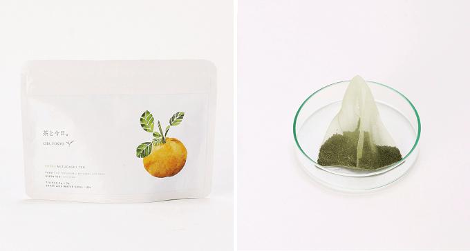 「茶と今日。」の「水出し柚子緑茶」のティーバッグ