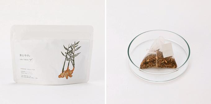 「茶と今日。」の「生姜焙じ茶」のティーバッグ