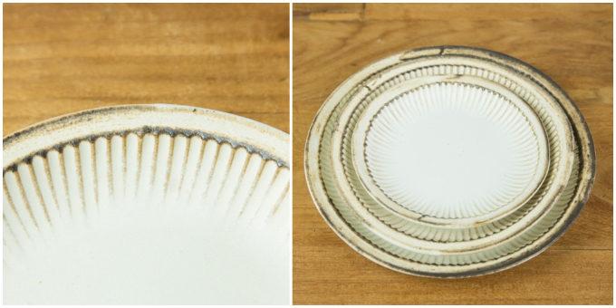 益子焼ブランド「わかさま陶芸」の、縁のラインが印象的な「アンティークスリムライン プレート」