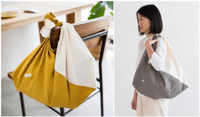 「ソメヤスズキ」の草木染めの布から作られる吾妻袋2