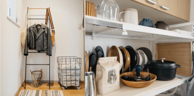 服を掛けるのにラダーラックを使ったり、お皿は立ててたりと使いやすくした収納
