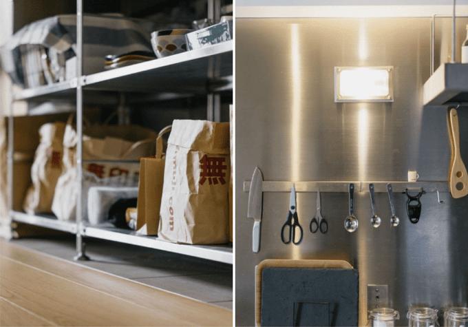 キッチンでのオープンラック活用例