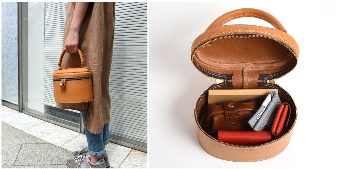 職人が一つひとつ丁寧に作る「HERZ」の革のハンドバッグ「化粧ケース型・レディースハンドバッグ」