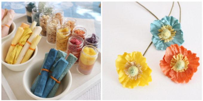 草木染めアクセサリーブランド「Kahon」が染めた布や、それで作られたお花