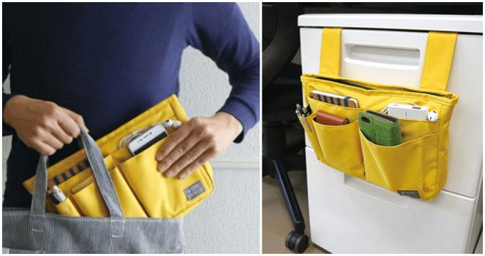 オフィスの机の引き出しに取り付けられる「【バッグインバッグ】おともポケット」