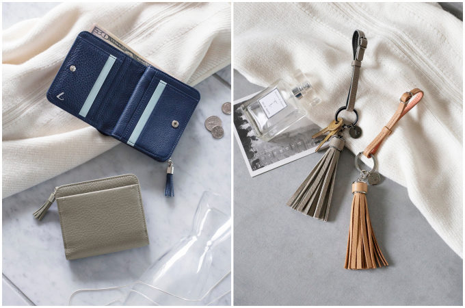 「土屋鞄製造所」の定番シリーズ「clarte(クラルテ)」の新作、ミニ財布・チャーム