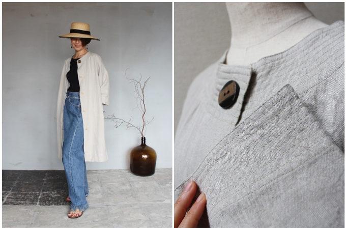 秋におすすめの「tsu tsu mu(つつむ)」の羽織物アイテム、ノーカラーコート