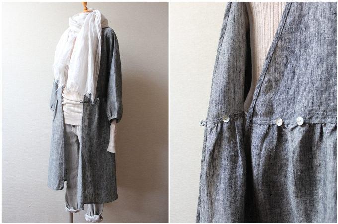 秋におすすめの「tsu tsu mu(つつむ)」の羽織物アイテム、カシュクールワンピース