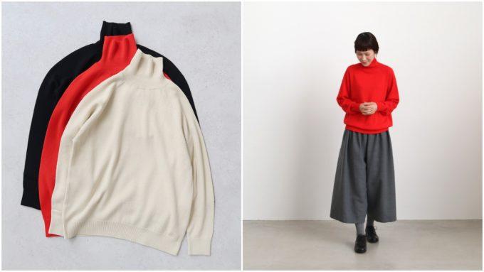 薄手タートルネック(3色)とモデル着用の写真