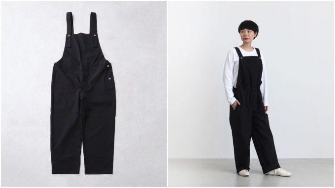 ブラックオーバーオールの平置き写真とモデル着用写真