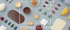クリスマス限定ケーキ店「125(12の5乗)ーPOWER CAKESー」のお菓子とロゴ