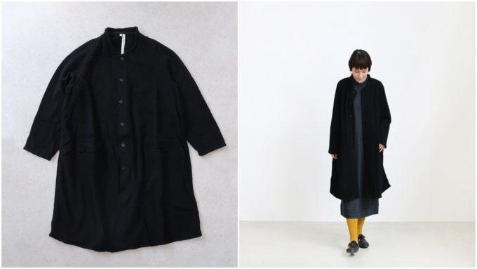 「TOKIHO トキホ」のなめらかな手触りの黒いコート