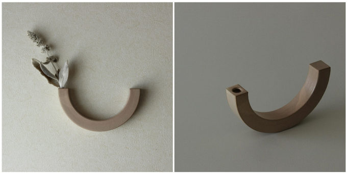 「風景を生む陶器」をテーマに制作をする作陶家の福山菜穂子さんの、置いても使えるU字の壁掛け花器