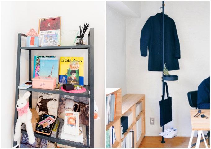 IKEAの棚などを使用してお気に入りの本を並べたり、服や靴を掛けて収納した例