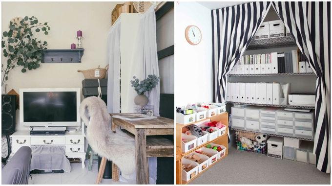部屋をすっきり見せる方法1 棚には布をかぶせて中身を隠す
