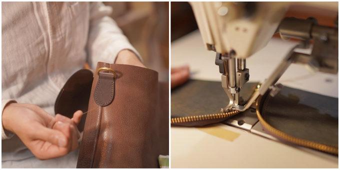 革製品の製造過程の写真