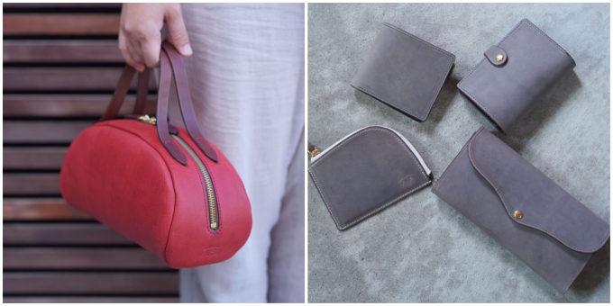赤い手提げバッグと財布やキーホルダー等の写真