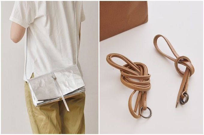 「丸ヨ片野製鞄所」の「レザーバッグ本革紙袋」の持ち方と付属の革紐