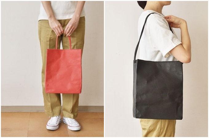 「丸ヨ片野製鞄所」の「レザーバッグ本革紙袋」の持ち方