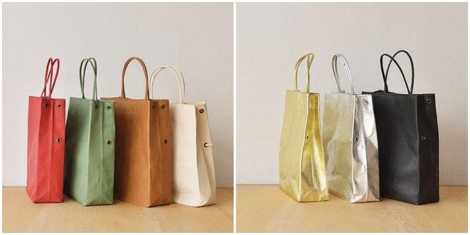 紙のように折り畳める「丸ヨ片野製鞄所」の「レザーバッグ本革紙袋」のカラーバリエーション