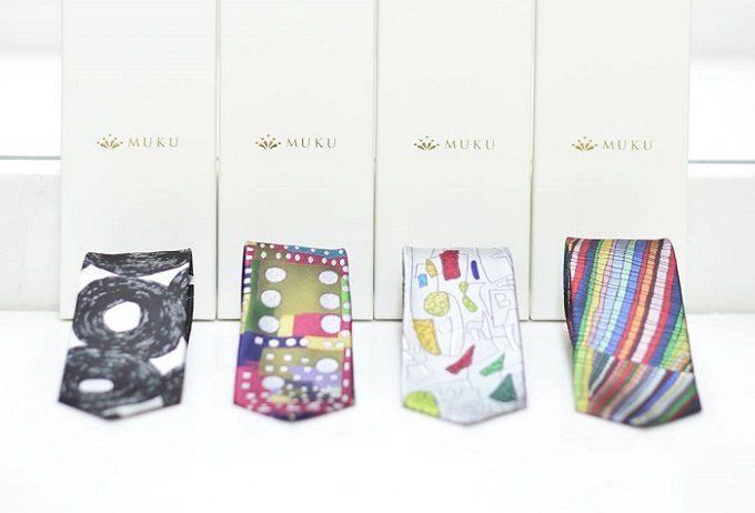 アート作品をデザインに採用した「MUKU」のネクタイ4種