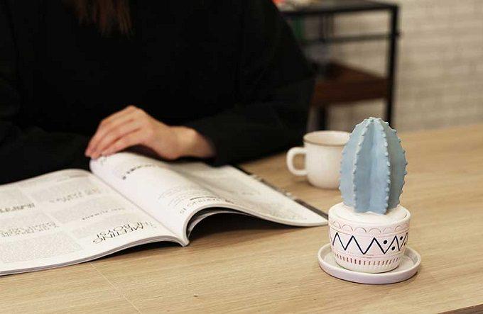「Onlili(オンリリ)」の陶器エコ加湿器 鉢に民族調の模様が入ったサボテン型