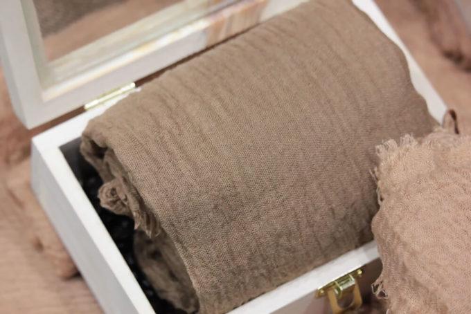 「コーヒー染め」のやり方、染めた布