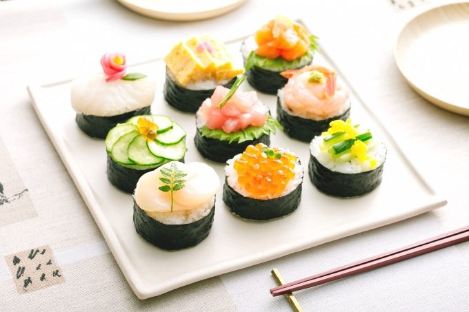 「ひとくち祝い寿司」のテーブルセッティング写真