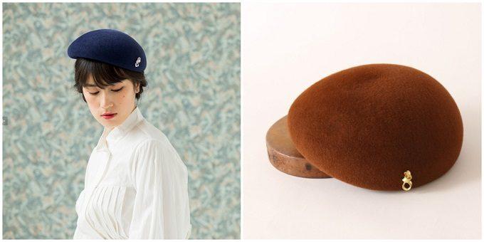 ベレー帽とモデル着用の写真
