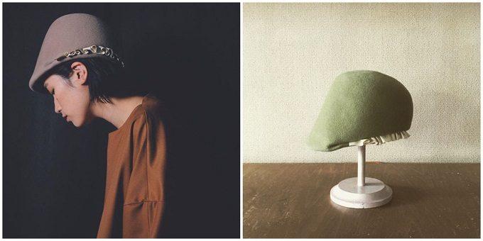 ジョッキー帽とモデル着用の写真