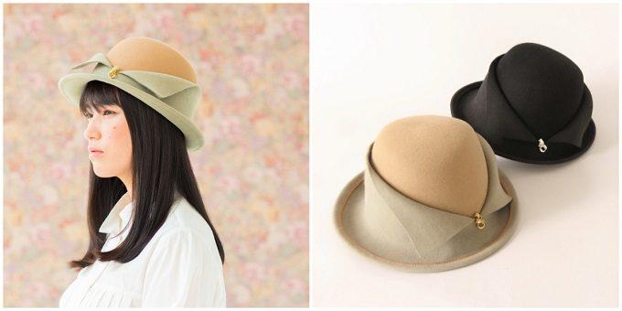 襟をイメージさせるデザインの帽子とモデル着用の写真