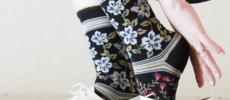 「MAISON BLANCHE(メゾンブランシュ)」の花柄のハイゲージソックス