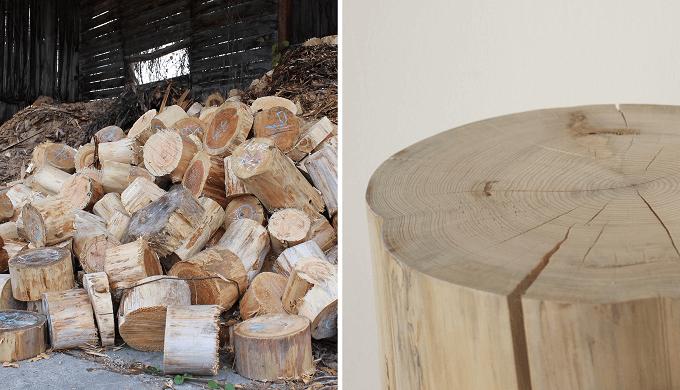 「Bouillon(ブイヨン)」の家具に使われる丸太の数々