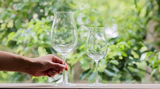 2つのグラスとそこに手を添えている写真