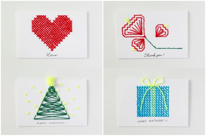 クリスマスツリー、プレゼント、ハート、お花のカードの写真