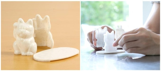 盛り塩が作れる招き猫の型と専用皿の写真