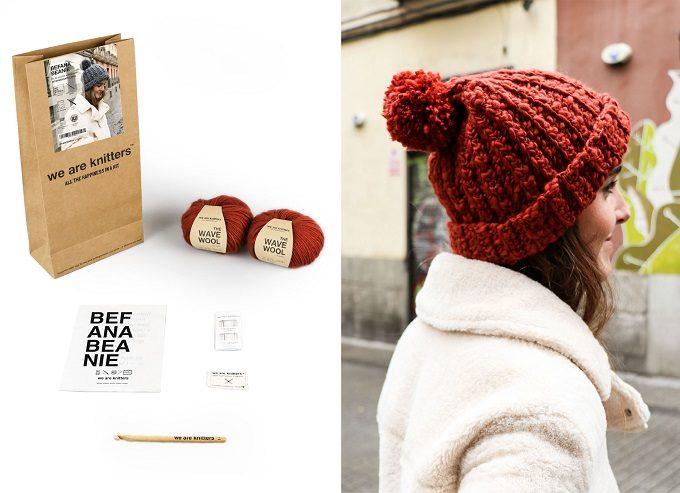 ニット帽のかぎ針編みキットの写真