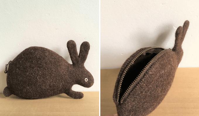 「komakoma」のうさぎモチーフの羊毛フェルトポーチ