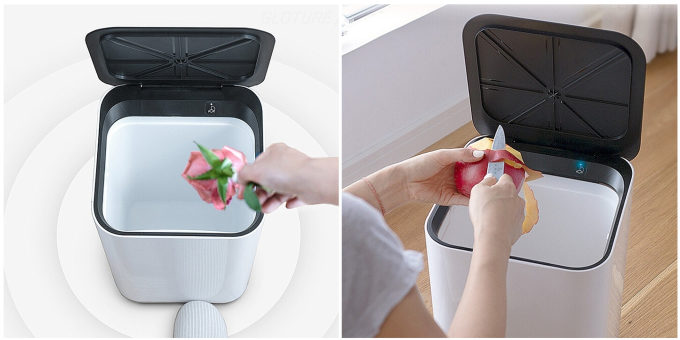 足で触れればサッと蓋が開く。デザインも機能もスマートなゴミ箱「Micasa」