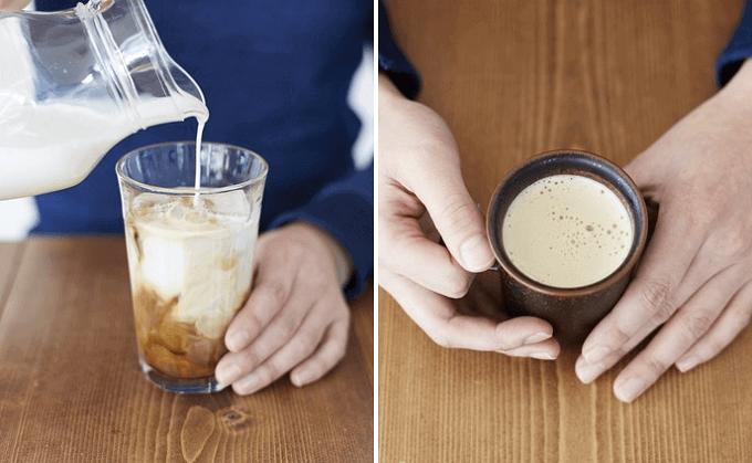 牛乳で薄めるだけでカフェオレができあがります