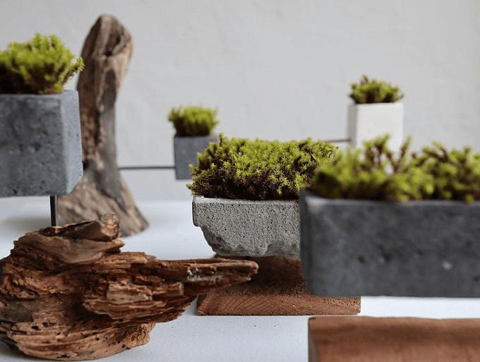 「HITORI7(ヒトリナナ)」の流木とセメントの花器数種類