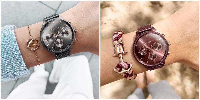 知的な腕時計「PAUL HEWITT(ポールヒューイット)」のグレーメタリックとダークモーヴ着用画像