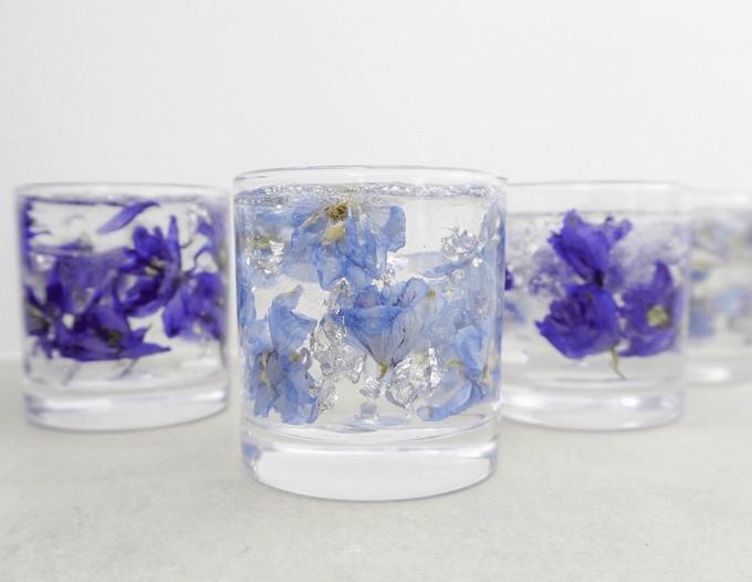 「te ao te po candle(テ アオ テ ポ キャンドル)」のデルフィニウムのジェルキャンドル3種類