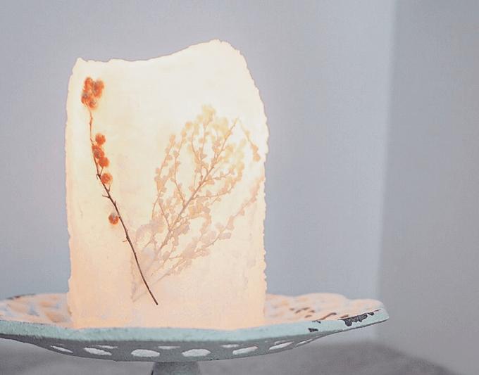 「te ao te po candle(テ アオ テ ポ キャンドル)」の押し花を使ったキャンドル