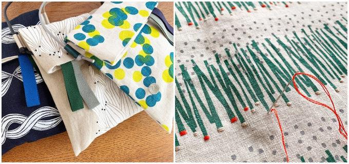暮らしからイメージされた柄と刺繍に一目惚れ。「fabrica uka」のハンドプリントのバッグ