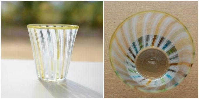飲み物がよりおいしく感じられる。水や虹、海などをイメージさせる涼しげなグラス
