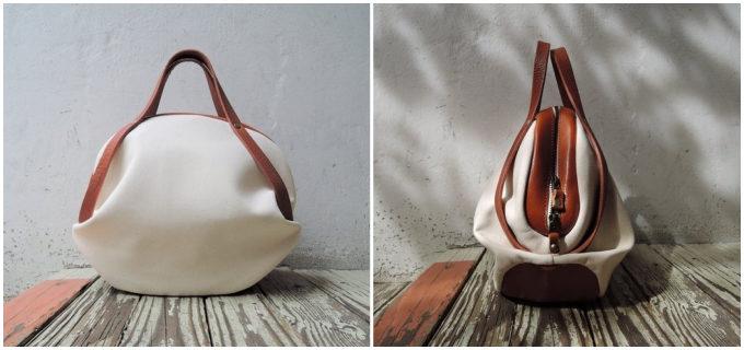 丸みのある形が軽やかでかわいらしい。「ORZO」が作る上質な帆布×レザーのバッグ